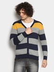 Abof- Pepe Men Grey & Navy Striped Sweater @ Rs.920(MRP-2,299)