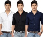 Top Notch Men's Solid Casual White, Black, Dark Blue Shirt(Pack of 3) For Rs.388 + 70 SC