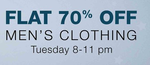 Flat 70% off on AMAZON AT 8PM Man's clothing start's at rs.134/-