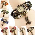 Vintage Bangle Bracelet cum Quartz Leather Watch Gift - Women (Single Piece)