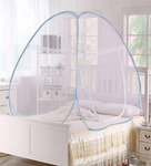 PIndia Blue Border Polyester 78 x 78 x 63 Inch Foldable Double Bed Mosquito Net