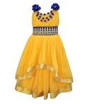 Kids Rock Yellow Long Sleeveless Party Wear Dress