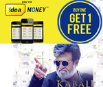 Kabali Offer with idea money (Buy 2 or more tickets & get one ticket price as cashback )