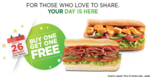 SUBWAY - Buy 1 Get 1 Free on 26 august 2016 (Valid across India)