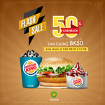 Flat  50% cashback when you purchase Burger King Combo
