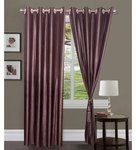 Exporthub Brown Polyester 84 x 48 Inch Solid Eyelet Door Curtain - Set of 2