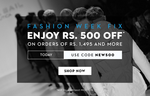 Get Upto 33% off on minimum purchase of Rs.1495/- and above