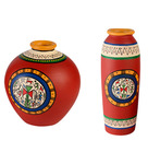 Exclusivelane Red & Blue Terracotta Hand-Painted Vase - Set of 2