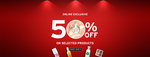 Flat 50% Off on Select Merchandise