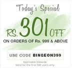 Get Rs.301 off on all orders above ₹999