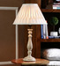 Decor mart table lamp wood antique finish colour with cotton pleted natural colour shade decor mart  pfuqpl