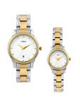 Timex Set of 2 His & Her White Dial Watches TI00PR18100-P/P
