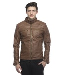 Lambency Brown PU Leather Biker Jackets