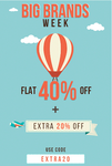 Flat 40% off + Extra 20% off on Fashion Apparels.