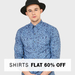 Flat 60% off on Shirts.