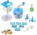 Vivir Plastic 10 in 1 Food Processor,14-Pieces, Blue