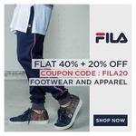 Flat 40% + Extra 20% Off on Fila Apparels & Footwear