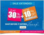 30%+10% Off on 100+ Brands over 25000 products