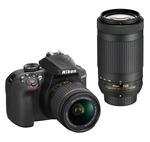 Nikon D3400 (with D-ZOOM KIT: AF-P DX NIKKOR 18-55mm f/3.5-5.6G VR + AF-P DX NIKKOR 70-300mm f/4.5-6.3G ED VR) 24.2 MP DSLR Camera (Black) + FREE Nikon DSLR Bag + 8GB Memory Card
