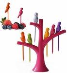 Birdie Plastic Fruit Fork Set, 7-Pieces, Multicolour
