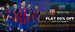 Flat 50% off on FC Barcelona T-Shirt, Sweatshirt, Pants & much more