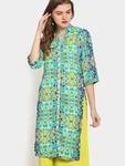 Ayaany Women Green & Blue Printed Regular Fit Kurta @ Abof