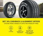 flat 18% cash back on tyres