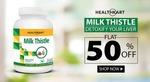 Flat 50% Off on HealthKart Milk Thistle, 60 capsules