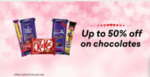 Flat 50% off on Nestle & upto 10% off on cadbury chocolates @ Grofers