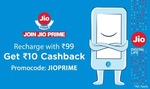 Rs.10 cashback on Jio Prime Recharge of Rs.99