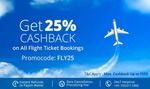Flat 25% cashback up to ₹555 on flight ticket bookings. No minimum order value. discount deal