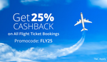 Flat 25% Cashback on Flight Tickets Booking At Paytm (all users )