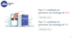 Flat 50 on min 300rs & 30 Cashback on min. 50rs - Jio recharge at FreeCharge