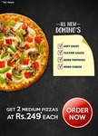Domino's today's Offer: Get any 2 Medium pizzas @199 each