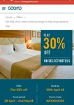 Flat 30% off on select hotels (47 different hotels) at Goomo.com for May long weekend stay (No upper limit on discount)