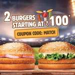 Burgerking : Buy 2 burgers at Rs 100 + pay via paytm and get cashback upto rs 120