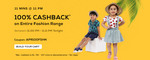 (Firstcry)100% Cashback* on Entire Fashion Range -at 30 April 11 PM to 11: 11 PM