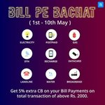 Niki Bill Pe Bachat - Get 5% extra CB on your Bill Payments when you make total transaction of above 2000.