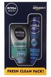 Nivea Men Fresh Active Original Deodorant Spray, 150ml with All in One Face Wash, 100ml