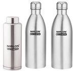 Nirlon Stainless Steel Water Bottle Set, 3-Pieces, Silver