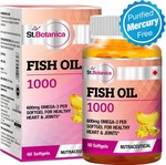 [Lowest Ever] St.Botanica Fish Oil 1000 mg (Double Strength) with 600 mg Omega 3 (330mg EPA, 220mg DHA) - 60 Softgels