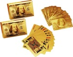 (Hurry only a few left) Care Case Pack Of 2-24 K Gold Foil Plated Good Quality Waterproof USD Poker 100 Dollar Playing Cards (Gold)