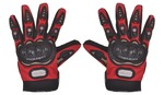 Romic Leather Motorcycle Full Gloves (Red, Large)