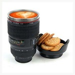 NK-STORE Camera Lens Coffee Flask With Cookie Holder, Black Stainless Steel Mug  (300 ml)