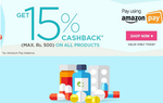 Netmeds - 15% cashback up to Rs.500 through Amazon (17 May)