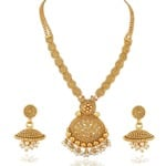 YouBella Jewellery Fashion party wear Gold Plated Necklace Jewellery set with Earrings For Girls/Women