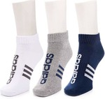 ADIDAS Men's & Women's Striped Quarter Length Socks  (Pack of 3)