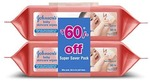 (pantry) Johnsons Baby Wipes (2 Packs, 80 Sheets per Pack)
