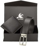 Hornbull Mens Black Wallet and Belt Combo