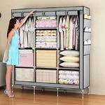 Houzie 66Inch Portable Wardrobe Rack Cabinet Collapsible Clothes Storage Rack Diy - Red/Maroon (Random Colors)